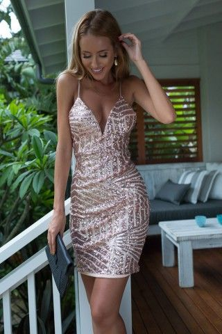 Delicate Rose Gold Sequin Dress | USTrendy