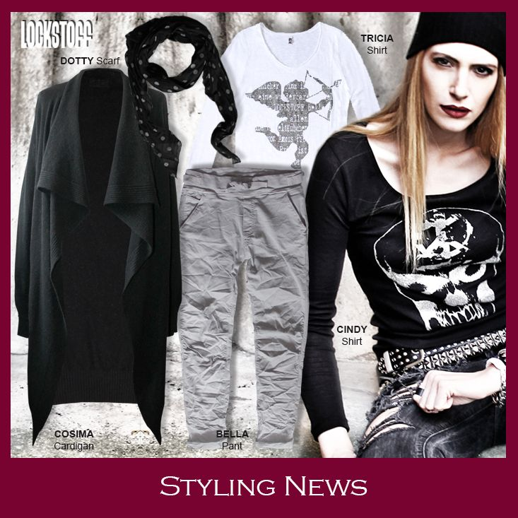Styling News from LOCKSTOFF... COSIMA cardigan, CINDY longsleeve, TRICIA shirt, BELLA pant #mode #fashion #casual #styling #outfit #grey #white #black #colours #skull #silver #angel