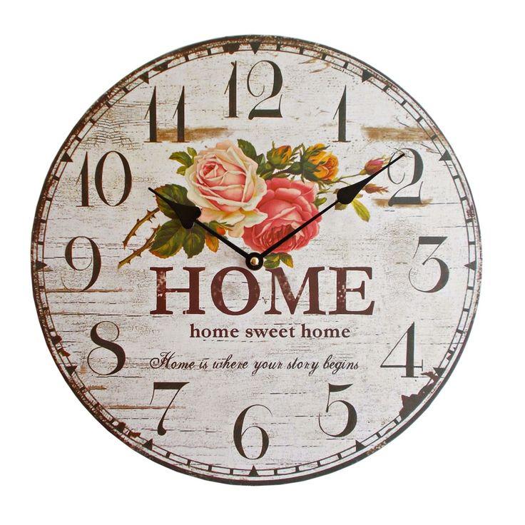 "Ceas de perete decorativ cu model imprimat cu trandafiri si inscriptionat ""Home Sweet Home. Home is where your story begins""."
