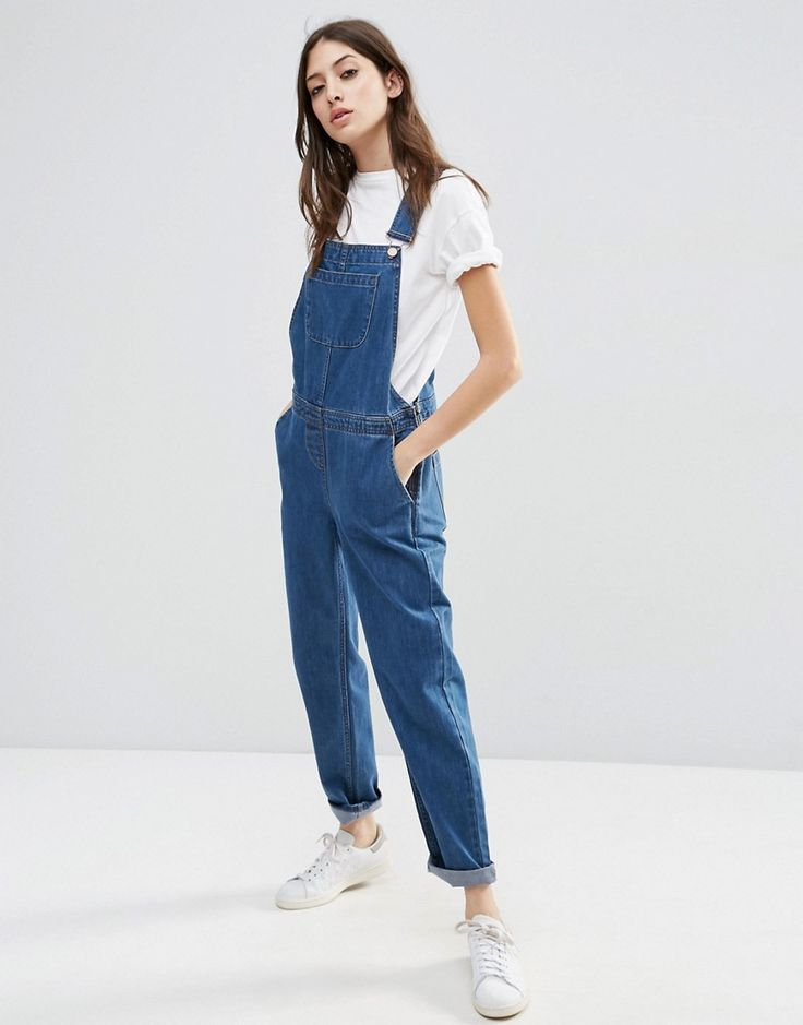 Image 1 of ASOS Denim Overall in Stonewash Blue