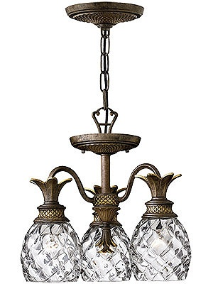 Antique Pineapple Chandelier Plantation 3 Light
