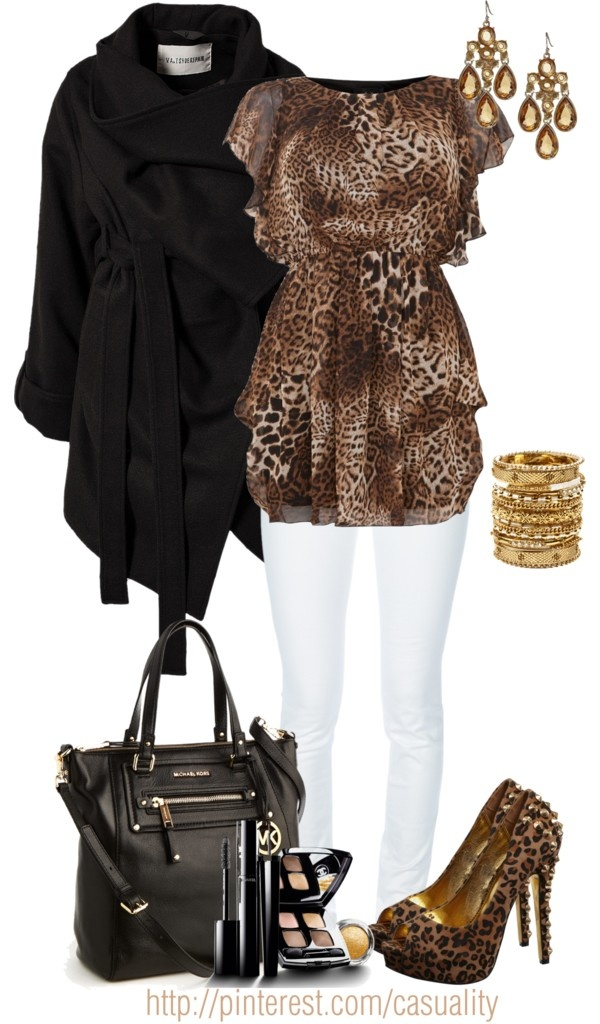 """""""Animal Print Ruffled Top & Mk Leather Tote"""" by casuality on Polyvore"""