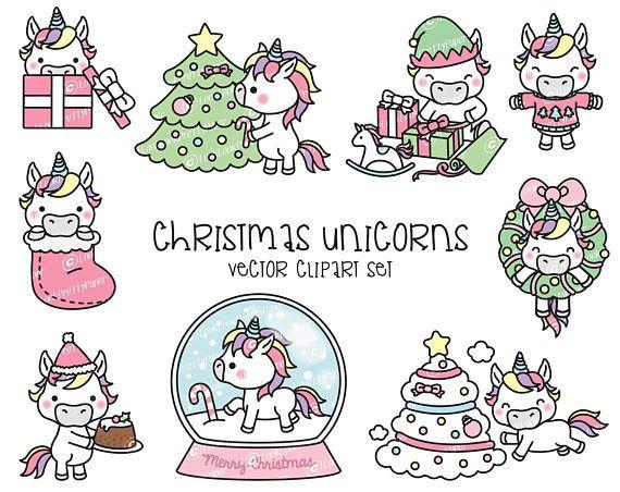 Premium Vector Clipart-Kawaii Christmas Unicorns-Cute Christmas Unicorns Clipart Set-High Quality Vectors-Kawaii Christmas Clipart