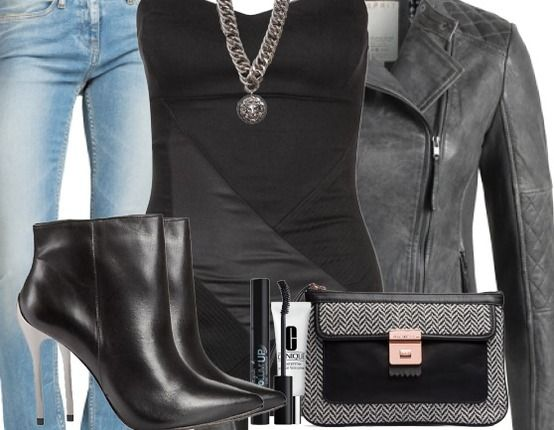 Partyoutfit mit Lederoptik ♥ Hier kaufen: http://www.stylefruits.de/partyoutfit-clay-s-old-lady/o2886897
