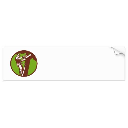 Arborist Tree Surgeon Trimmer Pruner Bumper Sticker. Bumper sticker with an illustration of an arborist climbing a  tree cutting with a chainsaw  set inside a circle done in retro style. #bumpersticker #lumberjack #arborist