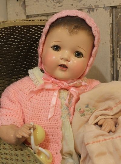 """Big 25"""" Old Antique Vintage Composition and Cloth Baby Doll 