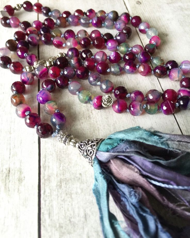 Extra long necklace with silk tassel