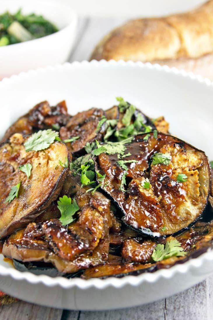 Moroccan Honey Glazed Eggplant: meltingly soft eggplant, glazed in a sweet and spicy honey and harissa sauce. Vegan and gluten free! {Bunsen Burner Bakery}