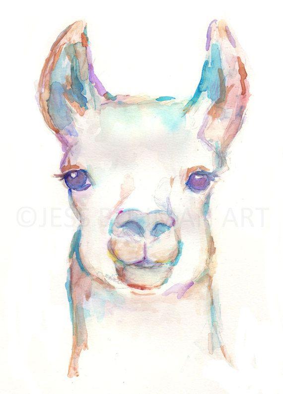 Llama Watercolor Painting Print Nursery Painting by JessBuhmanArt