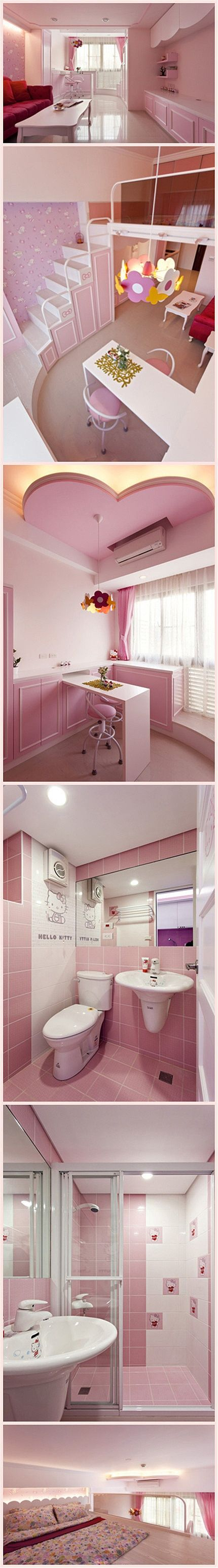 Duplex Hello Kitty nido I don't even like pink like that but I would totally live here! and like OMG! get some yourself some pawtastic adorable cat shirts, cat socks, and other cat apparel by tapping the pin!