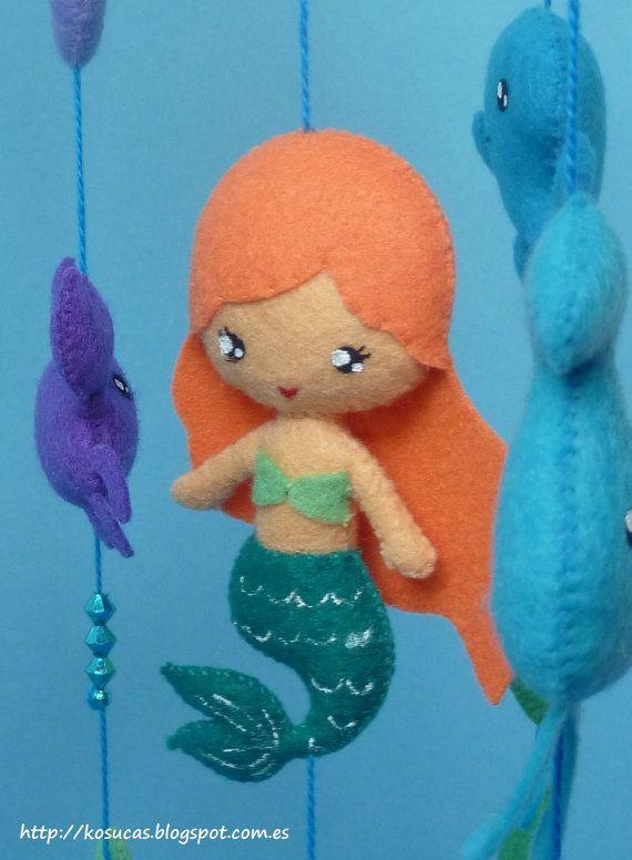 Sentivo mobile con sirena e animali marini. di Kosucas su Etsy