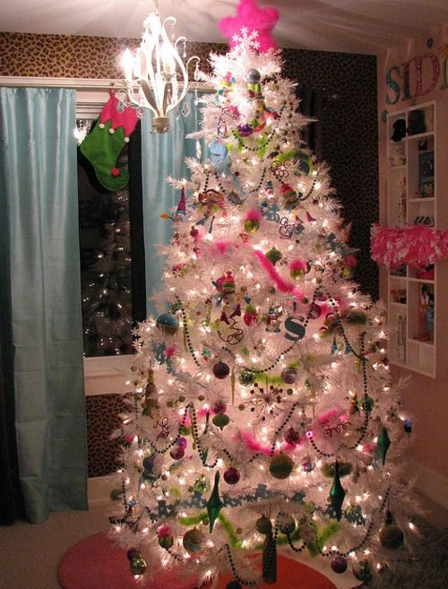 1 White Christmas Tree with Neon Ornaments. | christmas xmas holiday decorating