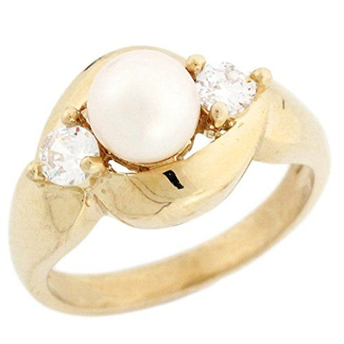 10k or 14k Solid Gold CZ /& Freshwater Cultured Pearl 3 Stone Ladies Ring Jewelry