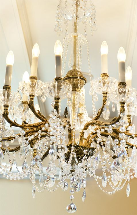 Brass Louis XV chandelier with Swarovski Crystals, a statement piece will add a unique and luxurious character to your reception - By Mitheo Events