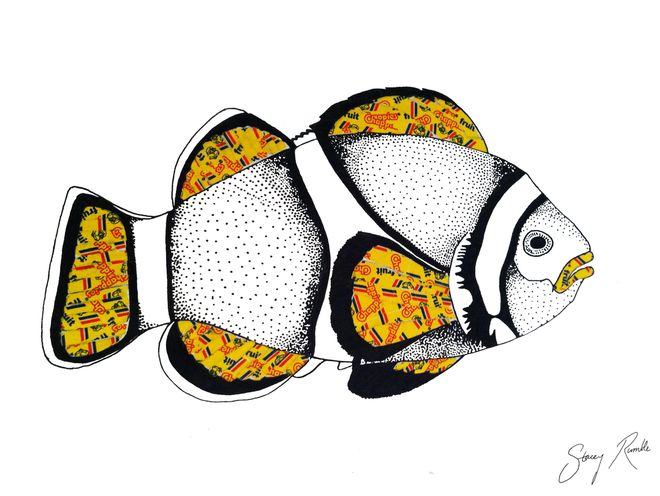 Clownfish - ink drawing with with Chappies bubblegum wrapper overlays. Stacey Rumble