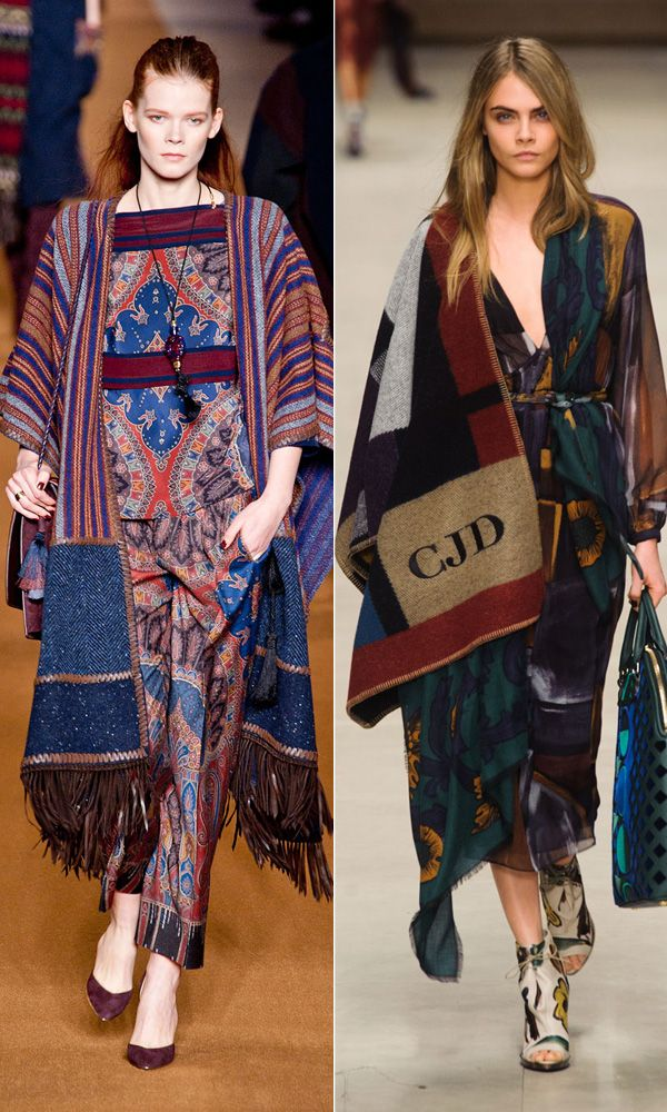 "Fall 2014 Trend: Blanket Coats   From Burberry's monogrammed blanket wrap—already one of the season's ""It"" items—to slightly more boho or geometric styles, a staggering number of designers including Etro and Roberto Cavalli appropriated the classic poncho into stylized pieces of outerwear."