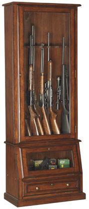 """Solid Wood and Wood Veneers. Displays Most 52"""" Rifles. Tempered Glass. Felt Lined Barrel Rest & Butt Plate. Displays Double Barreled Shotguns. Fully Locking Cabinetry. Storage Area Behind Front Door. Classic Furniture Hardware. Floor Levelers. Easy to Assemble.  Size: 29W x 14½D x 75½H"""