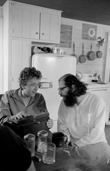 Bob Dylan and Allen Ginsberg at Ginsberg's home in Woodstock, 1964