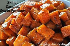 ~Skillet Candied Sweet Potatoes~ The perfect side dish for your Easter ham; but also so easy, they can be made any night of the week too. Sweet, savory and scrumptious.