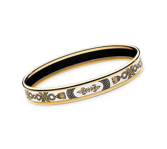 "Grand Apparat  Hermes narrow enamel bracelet in gold plated (2.5"" diameter)"