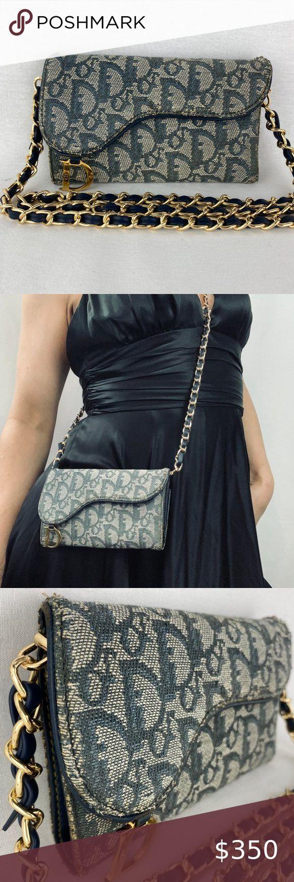 Sold Dior Navy Trotter Saddle Wallet On Chain Dior Vintage Dior Trotters