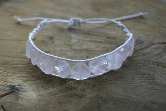 Bracelet Rose Quartz Heart Beads Handmade Adjustable by TriouZ, £11.45