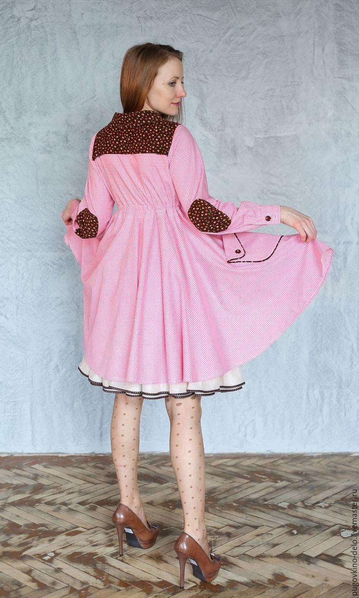 Купить Платье-халат с завышенной талией (розовый+шоколад) - в клеточку, розовый, Розовое платье, платье в клетку