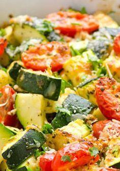 Garlic Parmesan Zucchini and Tomato Bake | Taste&Enjoy