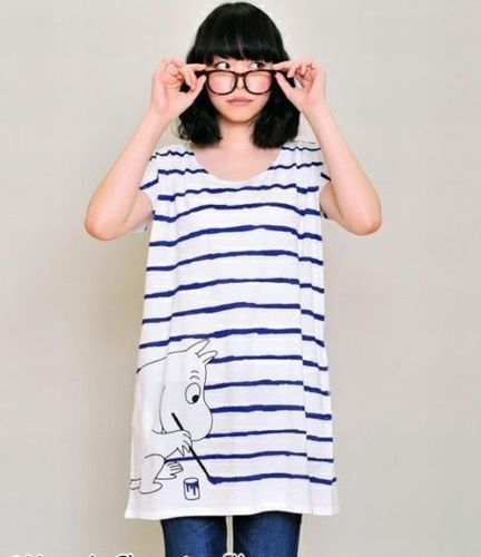 Moomin-round-neck-dress-painting-Moomin-from-JAPAN-NEW