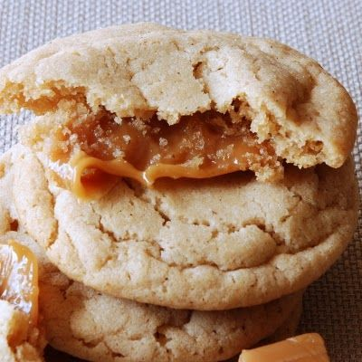 """Caramel Stuffed Apple Cider Cookies, via Scrambled Henfruit. Pinterest has a lot of """"stuffed"""" cookie recipes floating about, and this one convinced me that they're mostly overrated. I liked plain 'ol cookies I made without any caramels from the leftover apple cider dough much better than the ones with! Possibly it was just the use of Kraft Caramels in the center -- they were too hard and sticky when the cookies cooled, and things might have been better with homemade caramel sauce."""