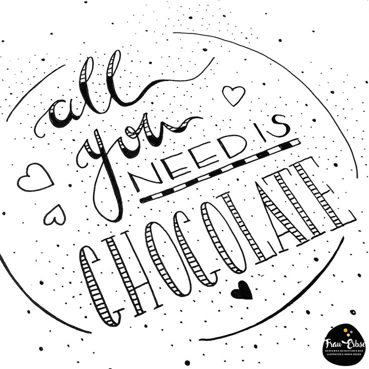 Zitat, Spruch, All you need is Chocolate, Handscript, Handlettering, Lettering, Modernkalligraphy, Lettern, Handschrift,