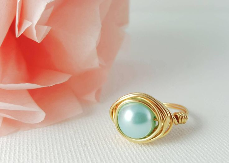 blue cocktail ring blue statement ring blue pearl ring