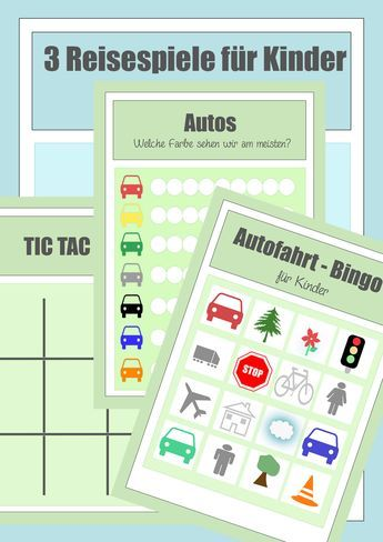 Reisespiele zum Ausdrucken - Spiele für die Autofahrt mit Kindern - Beschäftigung Urlaub, Autobingo, tictactoe
