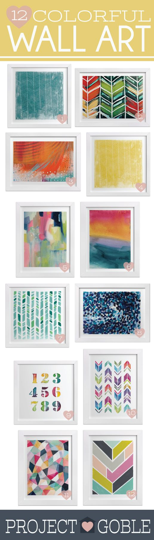12 Fun and Colorful pieces of Wall Art - Could be used in living room, gallery wall, kitchen, bathroom, bedroom, or office. Click for sources.