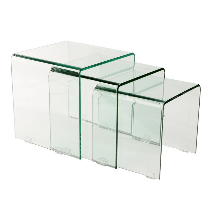 York Curved Glass Coffee Nest of 3 Tables by Unknown - Matt Blatt