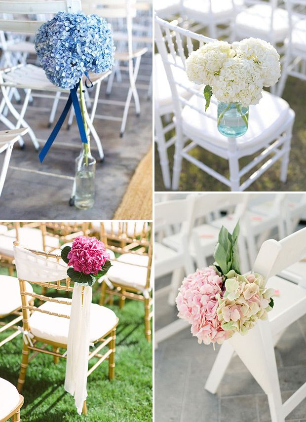 Hydrangea wedding chair decor | www.onefabday.com #Hydrangea