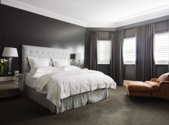 This is like my masterDenai Kulcsar, Parks House, Interiors Design, Kulcsar Interiors, Master Bedrooms, Nature Colors, Bedrooms Ideas, Gray Bedrooms, Dark Wall