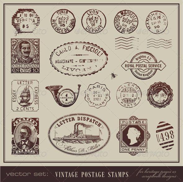 Vintage Postage Stamps - GraphicRiver Item for Sale