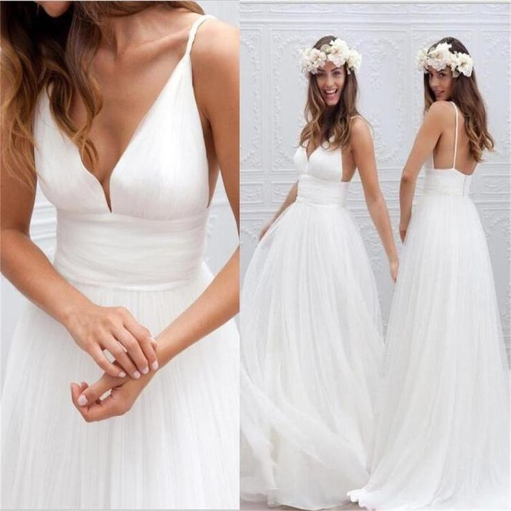 Charming Simple Backless Tulle Custom V-neck Floor-Length Wedding Dress , WD0120 Charming Simple Backless Tulle Custom V-neck Floor-Length Wedding Dress , WD0120