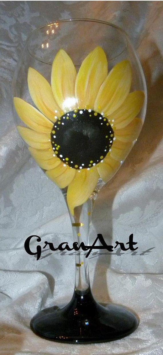 Sunflower Lover Wine Glass Hand Painted Wine Glasses by GranArt