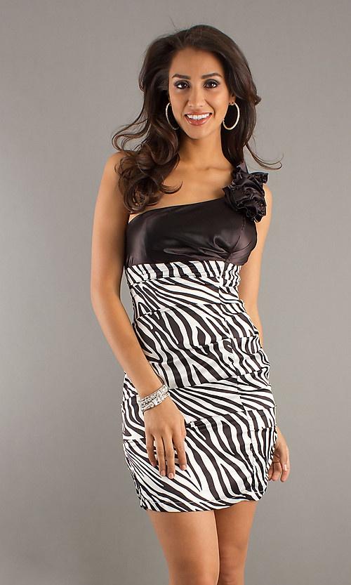 Short Ruffled One Shoulder Zebra Print Dress