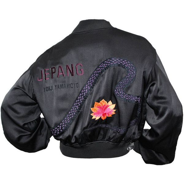 Preowned 1990s Unisex Yohji Yamamoto Silk Bomber Jacket With... ($1,221) ❤ liked on Polyvore featuring outerwear, jackets, coats, back, coats & jackets, multiple, oversized bomber jacket, flight jacket, black silk jacket and embroidered jacket