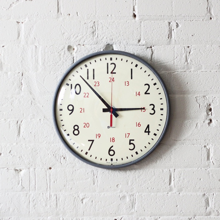military time simplex wall clock / industrial decor.  via Etsy.