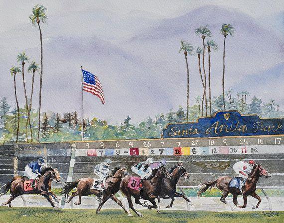 Santa Anita horse racing watercolor art print