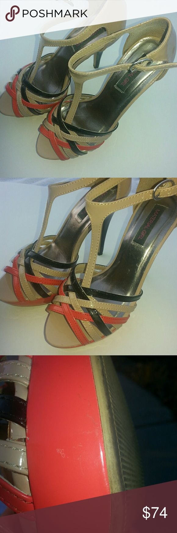 Material Girl Heels Tan w/black and orange accents. Hot shoe! Looks amazing with black skirt and tan blouse.  The orange is perfectly accentuated, adding a pop of color to your outfit. Definitely can use for a night out, dancing, and/or for any other occasion - you can move around even with the high heel. Been stored in box. There are a few little markings from gentle love - black part of heel has a small mark. Also refer to pics above re other little marks. They're very tiny and can't…