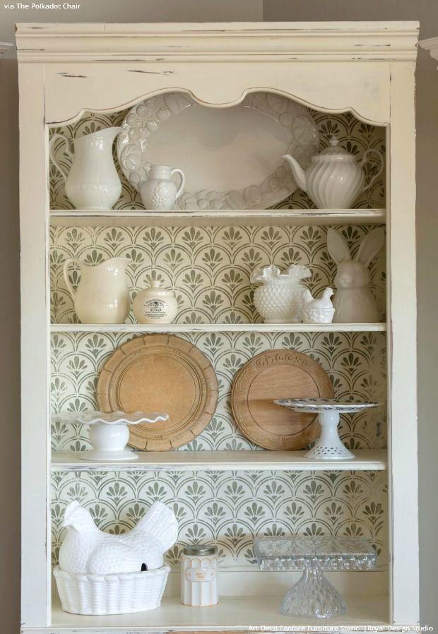 Les 489 meilleures images du tableau stenciled and painted furniture sur pinterest mur au - Pochoir shabby chic ...
