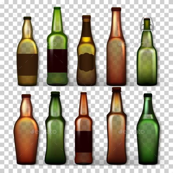 Transparent Beer Bottles Set Vector Beer Bottle Packing Design Beer Icon