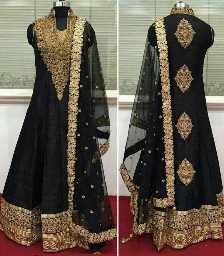 Bollywood Zari Work Black Anarkali Suit New Indian Pakistani Replica Dress