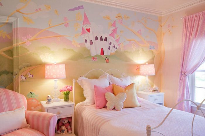 Girls Room Ideas with Castle Wall Mural - Wallpaper Mural Ideas - 15215