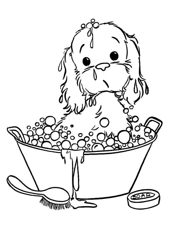 Puppies Coloring Pages Take A Bath Puppy Coloring Pages Dog Coloring Page Animal Coloring Pages